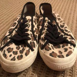Cheetah print closed toe shoes.